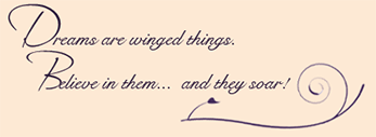 Dreams are winged things. Believe in them and they Soar